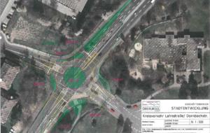 Mögliche Planungsvariante zum Verkehrsanschluss des Gefahrenabwehrzentrums: Einrichtung eines Kreisverkehrs im Bereich der Kreuzung Lahnstraße/Dornbachstraße.