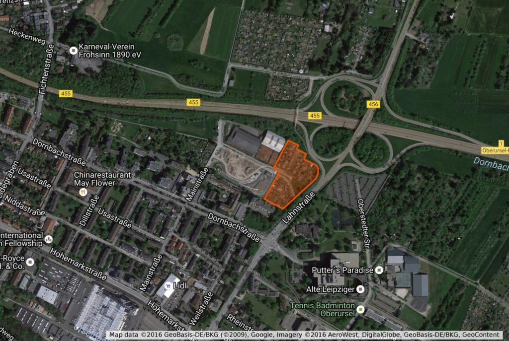 Ein Neubau der Feuerwache ist unumgänglich, eine erneute Nutzung des aktuellen Standorts an der Marxstraße jedoch unvorteilhaft. Angedacht ist die Nutzung einer Fläche im Bereich Lahnstraße, an der sich zur Zeit Kleingärten befinden. Karte: Map data ©2016 GeoBasis-DE/BKG (©2009), Google, Imagery ©2016 AeroWest, DigitalGlobe, GeoBasis-DE/BKG, GeoContent